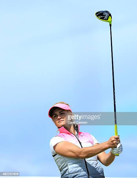 Carly Booth of Scotland in action during her final practice round as a preview for the 2015 Ricoh Women's British Open on the Ailsa Course at the...
