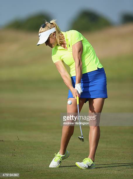 Carly Booth of Scotland in action during the first round of the ISPS Handa Ladies European Masters at The Buckinghamshire Golf Club on July 2 2015 in...