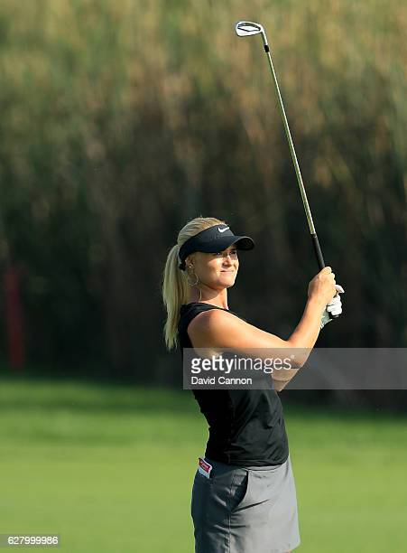 Carly Booth of Scotland in action during the proam as a preview for the 2016 Omega Dubai Ladies Masters on the Majlis Course at the Emirates Golf...