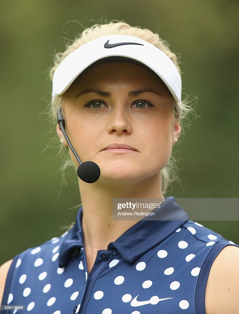 <a gi-track='captionPersonalityLinkClicked' href=/galleries/search?phrase=Carly+Booth&family=editorial&specificpeople=879376 ng-click='$event.stopPropagation()'>Carly Booth</a> of Scotland is pictured during a mixed exhibition match prior to the start of the Trophee Hassan II at Royal Golf Dar Es Salam on May 4, 2016 in Rabat, Morocco.