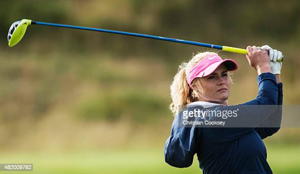 Carly Booth of Scotland on the first green during the final round of the Aberdeen Asset Management Scottish Ladies Open at Dundonald Links Golf...