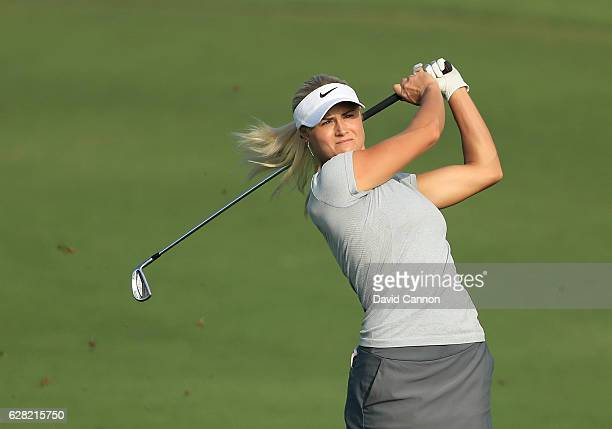 Carly Booth of Scotland plays her second shot on the tenth hole during the first round of the 2016 Omega Dubai Ladies Masters on the Majlis Course at...