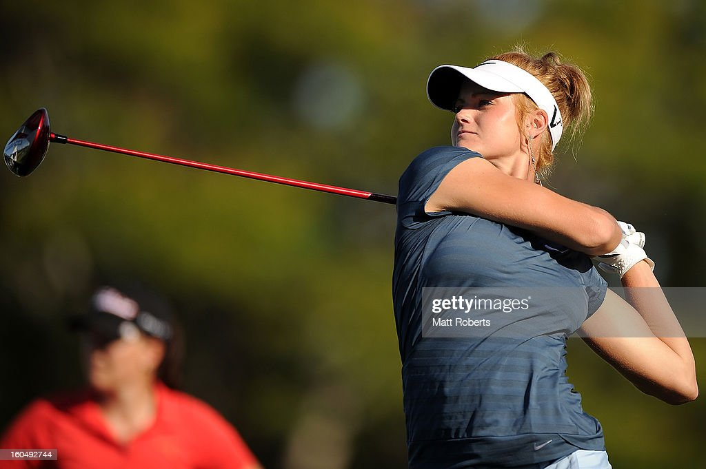 Carly Booth of Scotland plays her tee shot on the 10th hole during the Australian Ladies Masters at Royal Pines Resort on February 2, 2013 on the Gold Coast, Australia.