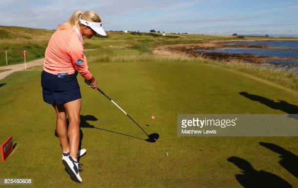 Carly Booth of Scotland tees off on the 2nd hole during a practice round prior to the Ricoh Women's British Open at Kingsbarns Golf Links on August 2...