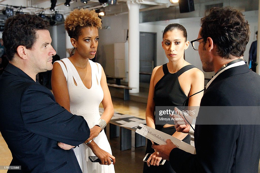 Carly Cushnie and Michelle Ochs backstage at the Cushnie Et Ochs fashion show during MADE Fashion Week Spring 2014 at Milk Studios on September 6, 2013 in New York City.
