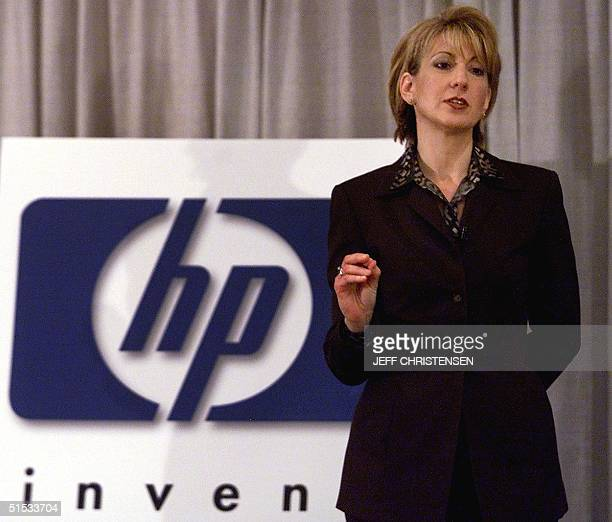 Carly Fiorina CEO and president of HewlettPackard makes a point during a press conference at COMDEX 15 November 1999 in Las Vegas Fiorina unveiled a...