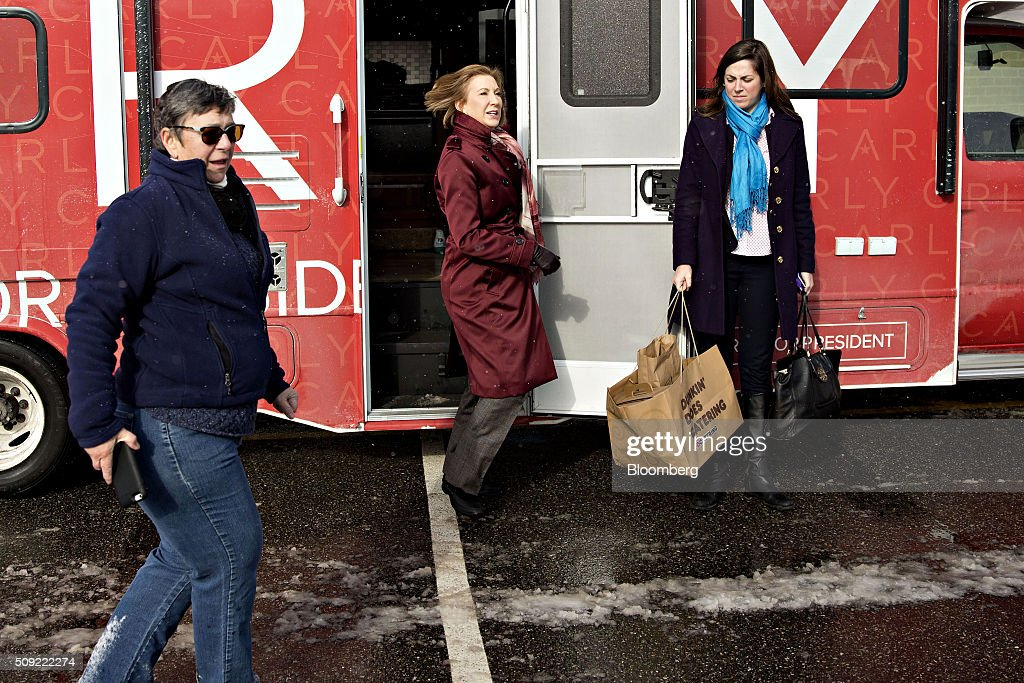 Carly Fiorina, former chairman and chief executive officer of Hewlett-Packard Co. and 2016 Republican presidential candidate, arrives at a polling station in Bedford, New Hampshire, U.S., on Tuesday, Feb. 9, 2016. Voters in New Hampshire took to the polls today in the nations first primary in the U.S. presidential race. Photographer: Daniel Acker/Bloomberg via Getty Images