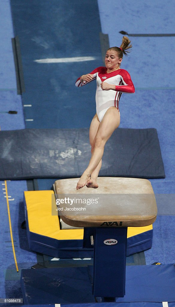 Carly Janigo competes on the vault during the Women's finals of the U.S. Gymnastics Olympic Team Trials on June 27, 2004 at The Arrowhead Pond of Anaheim in Anaheim, California.