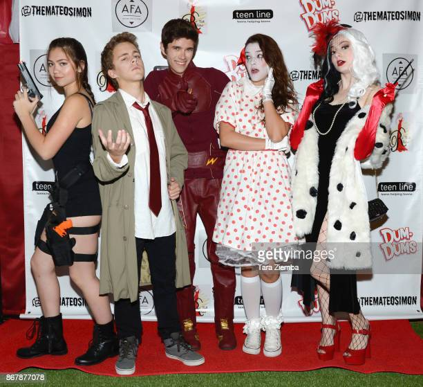 Carly Peeters Tyler Carney Mateo Simon Chelsea Ricketts and Tori Kostic attend Mateo Simon's Halloween Charity Event on October 28 2017 in Burbank...
