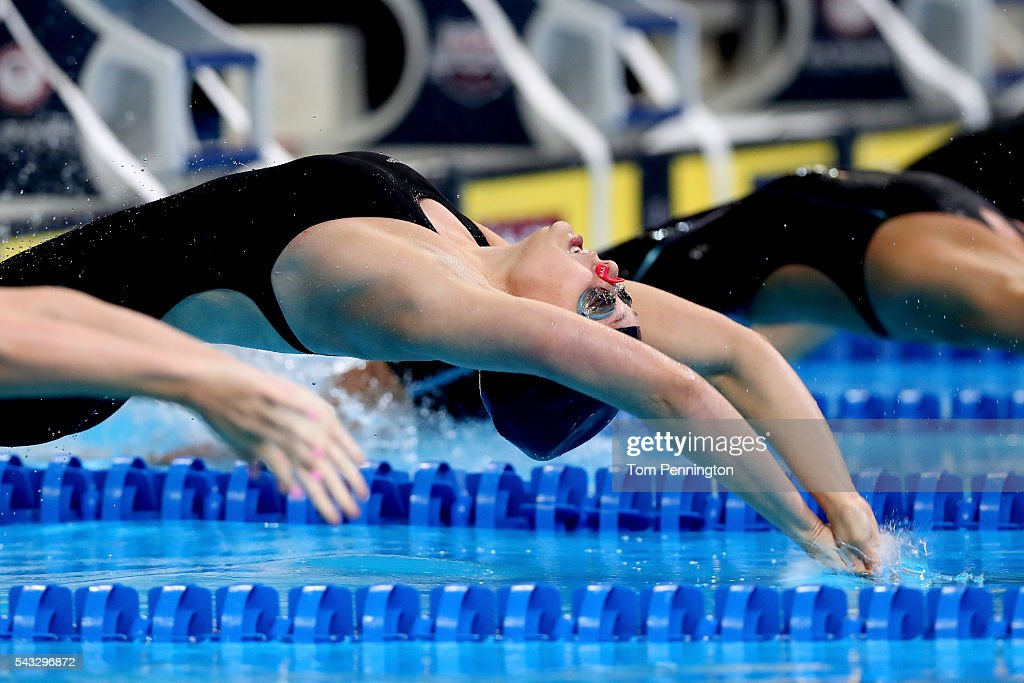Carly Quast of the United States competes in a preliminary heat for the Women's 100 Meter Backstroke during Day 2 of the 2016 U.S. Olympic Team Swimming Trials at CenturyLink Center on June 27, 2016 in Omaha, Nebraska.