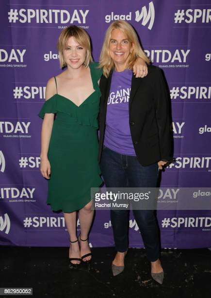 Carly Rae Jepsen and GLAAD President and CEO Sarah Kate Ellis at Justin Tranter And GLAAD Present 'Believer' Spirit Day Concert at Sayer's Club on...