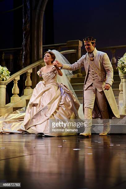 Carly Rae Jepsen and Joe Carroll take their opening night curtain call for 'Rodgers and Hammerstain's Cinderella' at Broadway Theatre on February 4...