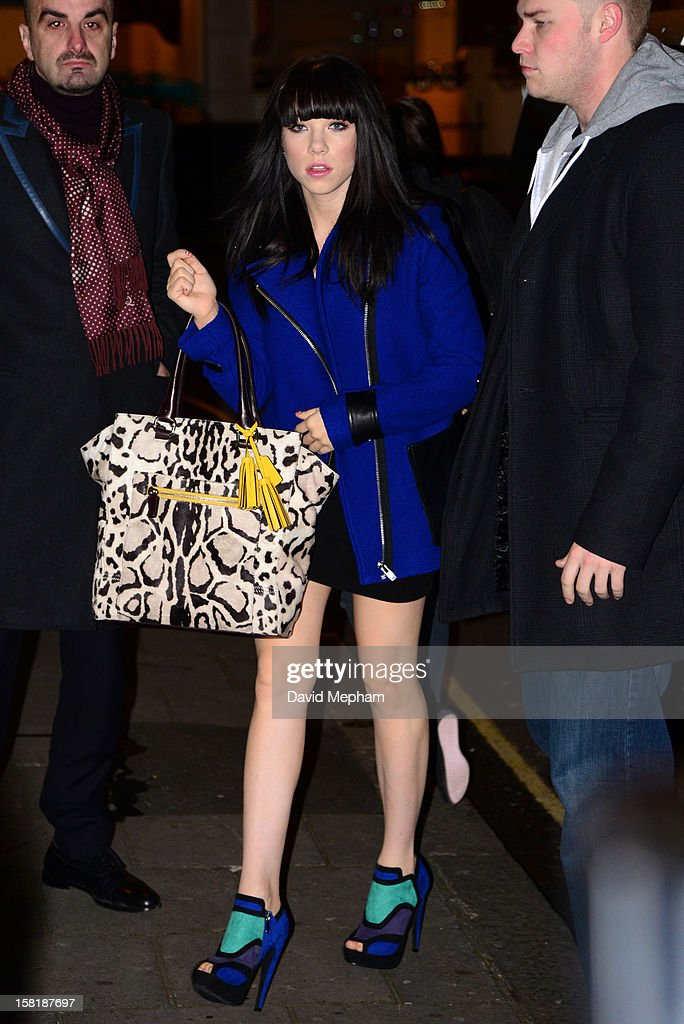 Carly Rae Jepsen arrives at BBC Radio One on December 11, 2012 in London, England.