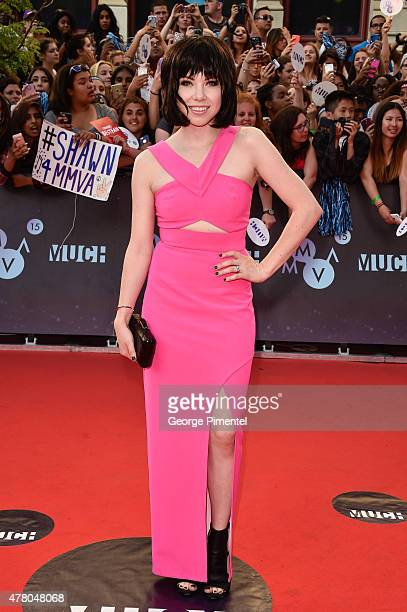 Carly Rae Jepsen arrives at the 2015 MuchMusic Video Awards at MuchMusic HQ on June 21 2015 in Toronto Canada