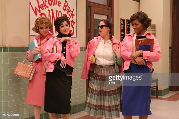 LIVE Carly Rae Jepsen as 'Frenchy' Vanessa Hudgens as 'Rizzo' Kether Donohue as 'Jan' and Keke Palmer 'Marty' rehearse for GREASE LIVE airing LIVE...