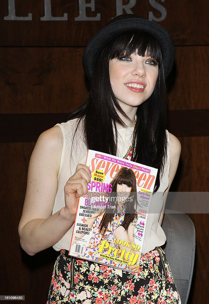 <a gi-track='captionPersonalityLinkClicked' href=/galleries/search?phrase=Carly+Rae+Jepsen&family=editorial&specificpeople=6903584 ng-click='$event.stopPropagation()'>Carly Rae Jepsen</a> attends Seventeen's Magazine signing and pretty amazing casting call held at Barnes & Noble bookstore at The Grove on February 8, 2013 in Los Angeles, California.