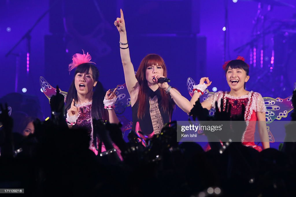 Carly Rae Jepsen perfoms with Momoiro Clover Z onstage during the MTV VMAJ 2013 at Makuhari Messe on June 22, 2013 in Chiba, Japan.