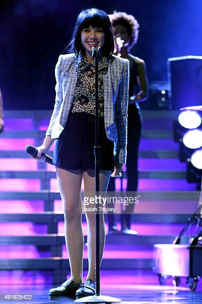 Carly Rae Jepsen performs on stage for WE Day Toronto at the Air Canada Centre on October 1 2015 in Toronto Canada