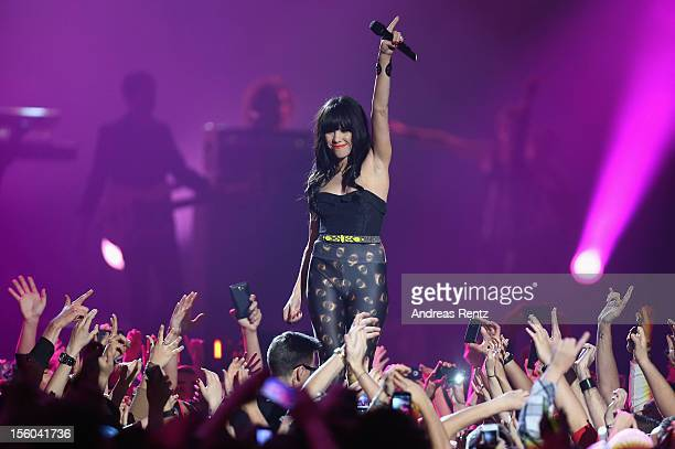 Carly Rae Jepsen performs onstage at the MTV EMA's 2012 at Festhalle Frankfurt on November 11 2012 in Frankfurt am Main Germany