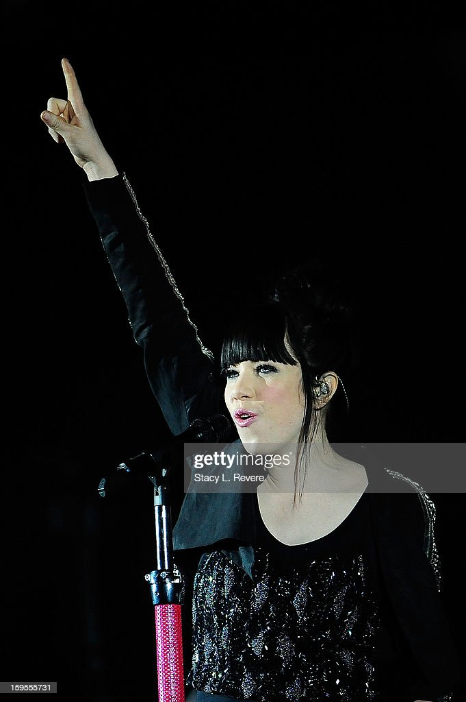 <a gi-track='captionPersonalityLinkClicked' href=/galleries/search?phrase=Carly+Rae+Jepsen&family=editorial&specificpeople=6903584 ng-click='$event.stopPropagation()'>Carly Rae Jepsen</a> performs onstage at the New Orleans Arena on January 15, 2013 in New Orleans, Louisiana.