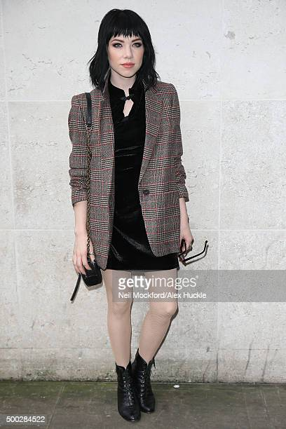 Carly Rae Jepsen seen arriving at BBC Radio One on December 7 2015 in London England