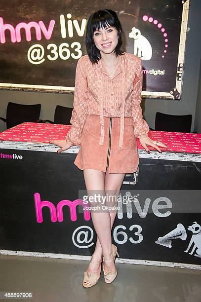 Carly Rae Jepsen signs copies of her new album 'EMoTion' at HMV Oxford Street on September 18 2015 in London England