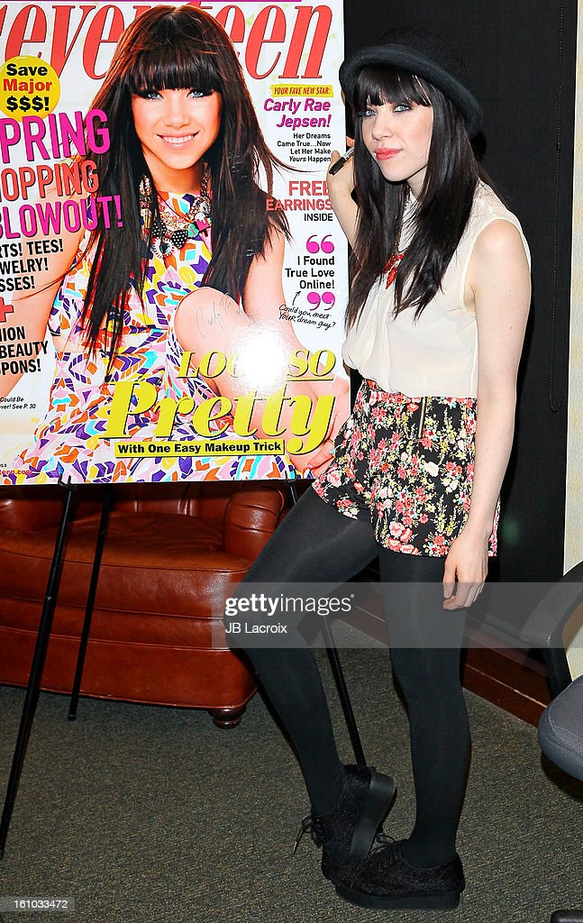 Carly Rae Jepsen signs copies of her 'Seventeen' magazine March cover at Barnes & Noble bookstore at The Grove on February 8, 2013 in Los Angeles, California.
