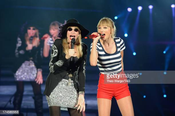 Carly Simon joined Taylor Swift onstage tonight at Gillette Stadium in Foxborough Mass in front of a soldout crowd of more than 55000 fans for a...