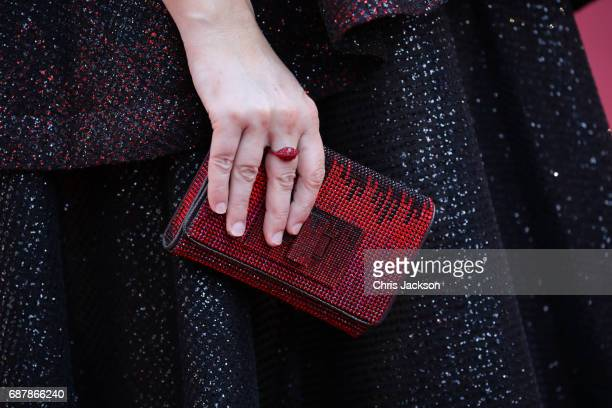 Carly Steel bag detail attends the 'The Beguiled' screening during the 70th annual Cannes Film Festival at Palais des Festivals on May 24 2017 in...