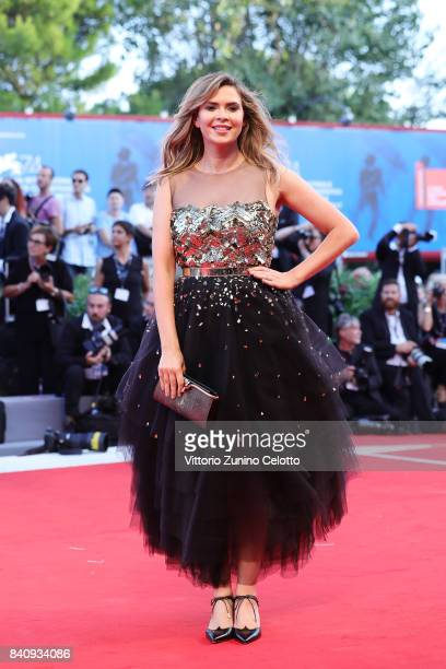 Carly Steel walks the red carpet ahead of the 'Downsizing' screening and Opening Ceremony during the 74th Venice Film Festival at Sala Grande on...