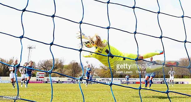 Carly Telford of Notts County Ladies FC saves a penalty kick from Remi Allen of Birmingham City Ladies during the FA WSL match between Birmingham...