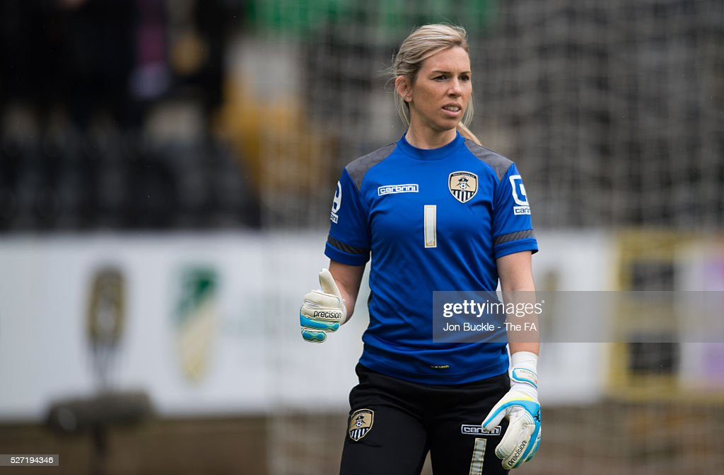 Carly Telford of Notts County Ladies FC warms up prior to kick off for the match between Notts County Ladies FC v Liverpool Ladies FC on May 2, 2016 in Nottingham, England.
