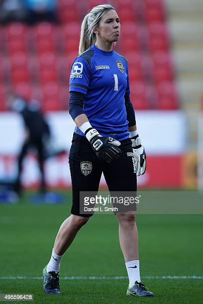Carly Telford of Notts Ladies County FC looks on during warm up prior to the WSL Continental Cup Final between Arsenal Ladies FC and Notts County...