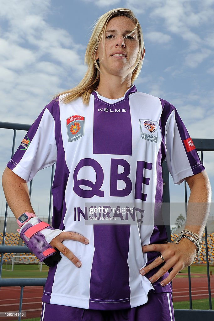 <a gi-track='captionPersonalityLinkClicked' href=/galleries/search?phrase=Carly+Telford&family=editorial&specificpeople=4499514 ng-click='$event.stopPropagation()'>Carly Telford</a> of the Glory poses during the W-League FFA finals series launch at Queensland Sport and Athletics Centre on January 15, 2013 in Brisbane, Australia.