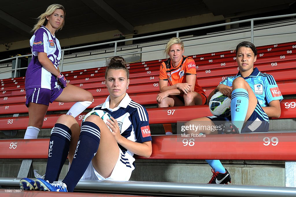 Carly Telford of the Glory, Stephanie Catley of the Victory Elise Kellond-Knight of the Roar and Samantha Kerr Sydney FC pose during the W-League FFA finals series launch at Queensland Sport and Athletics Centre on January 15, 2013 in Brisbane, Australia.