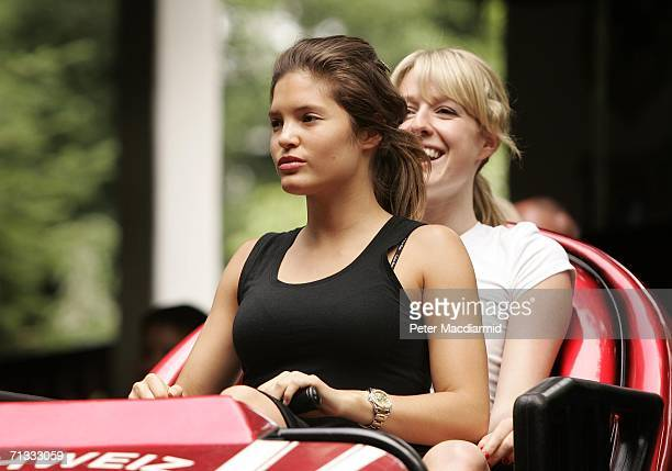 Carly Zucker girldfriend of Joe Cole rides a rollercoaster at the Europa theme park on June 29 2006 near Baden Baden Germany