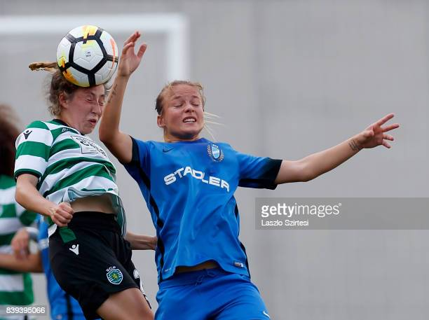 Carlyn Baldwin of Sporting CP wins the ball in the air from Diana Csanyi of MTK Hungaria FC during the UEFA Women's Champions League Qualifying match...