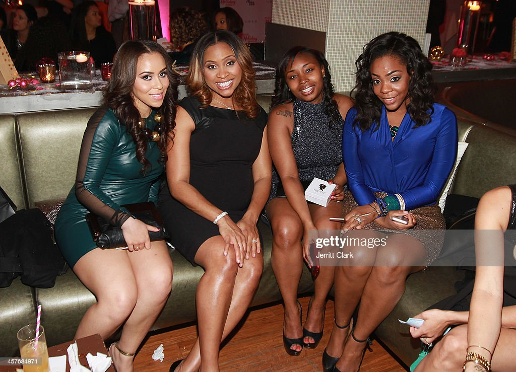 Carlyne Williams, Jamila Ryans, Chamon Jones and Jackie Fletcher attend the NBA & NFL Wives Holiday Cocktail Mixer at Pranna Restaurant on December 17, 2013 in New York City.