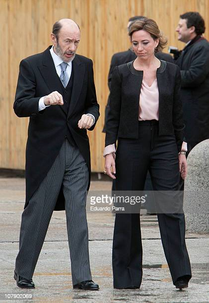 Carme Chacon and Alfredo Perez Rubalcaba attend the Pascua Military ceremony at Royal Palace on January 6 2011 in Madrid Spain
