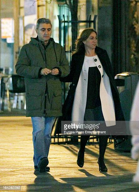 Carme Chacon and her husband Miguel Barroso are seen on March 11 2013 in Madrid Spain