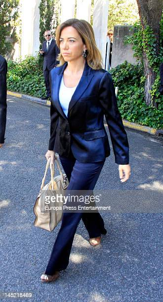 Carme Chacon attends the funeral of president of Real Madrid Florentino Perez's wife Pitina Sandoval at La Almudena crematorium on May 23 2012 in...