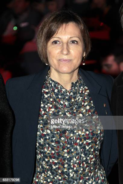 Carme Forcadell attends the front row of Naulover show during the Barcelona 080 Fashion Week Autumn/Winter 2017 at Teatre Nacional de Catalunya on...