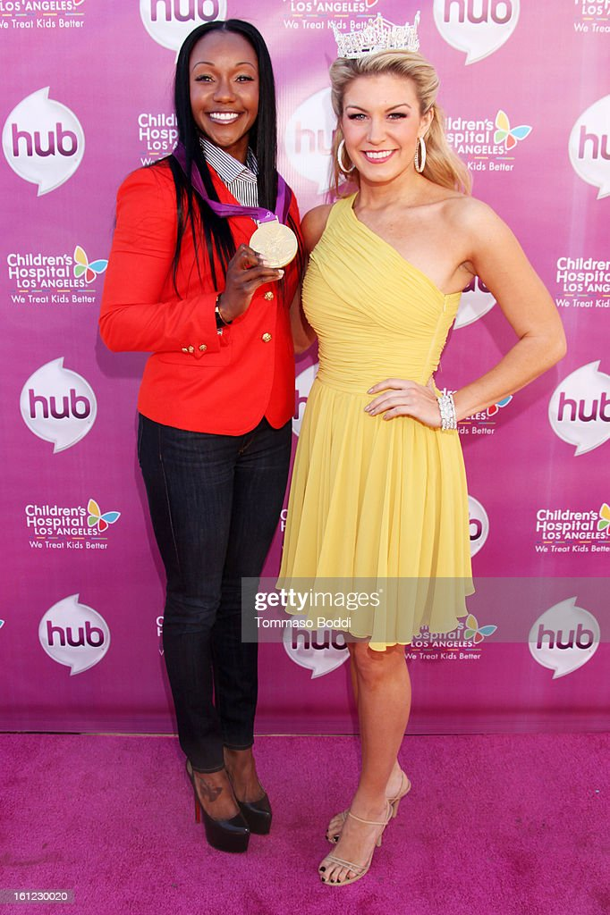 <a gi-track='captionPersonalityLinkClicked' href=/galleries/search?phrase=Carmelita+Jeter&family=editorial&specificpeople=4472760 ng-click='$event.stopPropagation()'>Carmelita Jeter</a> (L) and <a gi-track='captionPersonalityLinkClicked' href=/galleries/search?phrase=Mallory+Hagan&family=editorial&specificpeople=9408105 ng-click='$event.stopPropagation()'>Mallory Hagan</a> attend the HUB Television Network hosts 'My Little Pony Friendship Is Magic' coronation concert held at the Brentwood Theatre on February 9, 2013 in Los Angeles, California.