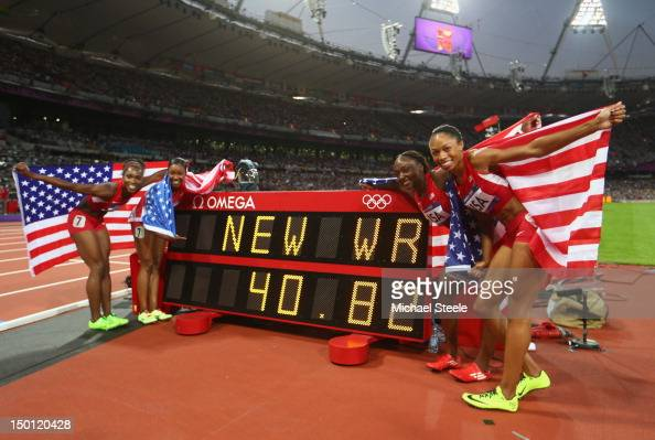 Carmelita Jeter of the United States Bianca Knight of the United States Allyson Felix of the United States and Tianna Madison of the United States...