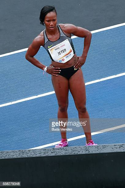 Carmelita Jeter of the United States checks her time during the 'Mano a Mano' challenge at the Quinta da Boa Vista on June 5 2016 in Rio de Janeiro...