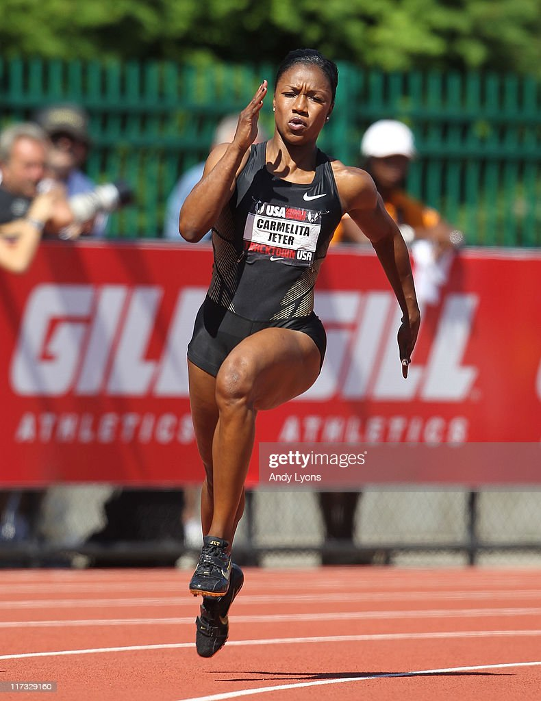 <a gi-track='captionPersonalityLinkClicked' href=/galleries/search?phrase=Carmelita+Jeter&family=editorial&specificpeople=4472760 ng-click='$event.stopPropagation()'>Carmelita Jeter</a> runs during the first round of the Women's 200 meter during the 2011 USA Outdoor Track & Field Championships at Hayward Field on June 25, 2011 in Eugene, Oregon.