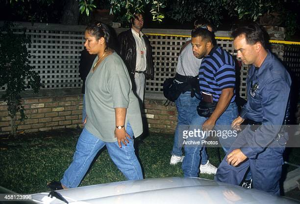 Carmelita Simpson Durio sister of OJ Simpson walks near the crime scene where the murders of Nicole Brown Simpson and Ron Goldman took place on June...