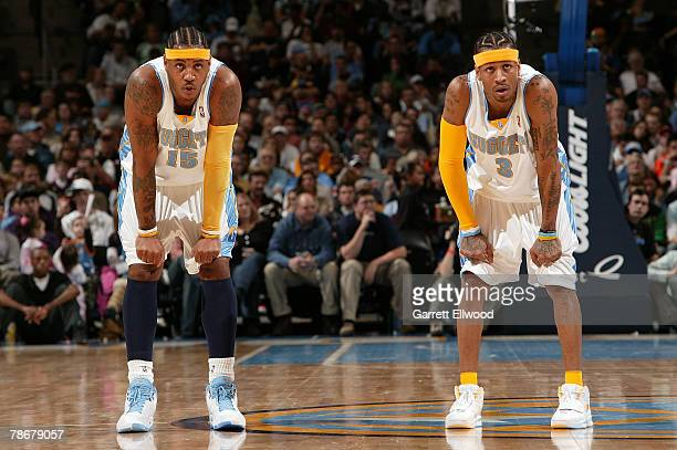 Carmelo Anthony and Allen Iverson of the Denver Nuggets during the game against the Golden State Warriors on December 30 2007 at the Pepsi Center in...