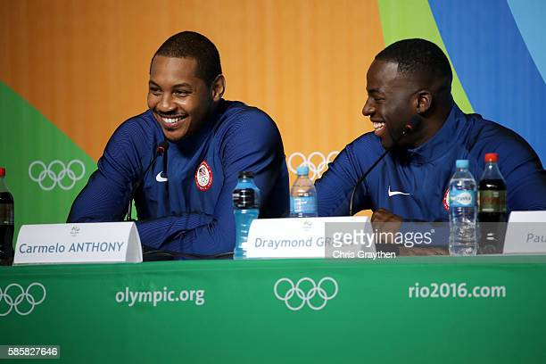 Carmelo Anthony and Draymond Green of the United States speaks with the media during a press conference at the Main Press Centre ahead of the Rio...