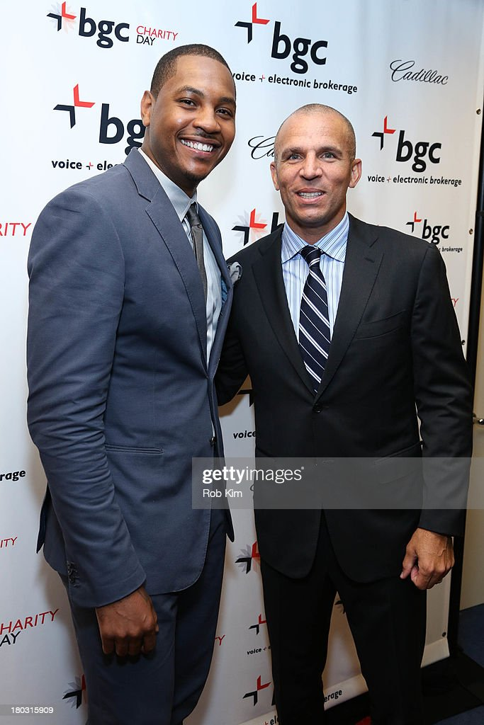 Carmelo Anthony (L) and Jason Kidd attend the 2013 Cantor Fitzgerald And BGC Partners Charity Day at BGC Partners on September 11, 2013 in New York City.